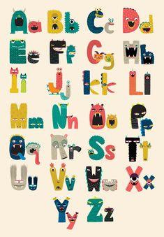 Printable Monster Alphabet by Caravan Shoppe--- photoshop magic