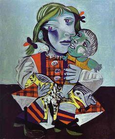 1938 Pablo Picasso (artista español, 1881 a 1973) Maya con muñecas. Se trata de una pintura de Picasso y Marie de la hija, María de la Concepción, llamada Maya, nacido en 1935. Marie y Maya se quedó con Picasso en Juan-les-Pins, en el sur de Francia desde marzo 25 hasta mayo 14 de 1936, Picasso visitó los fines de semana y algunos días de la semana para jugar con su hija. Maya también modeló para algunas de sus pinturas, incluyendo Maya con muñeca. Picasso apoyó Marie y Maya financieramente…