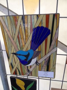 Blue wren Stained Glass Birds, Mosaic Crafts, Stained Glass Panels, Stained Glass Projects, Mosaic Art, Mosaic Glass, Fused Glass, Mosaic Birds, Mosaic Flowers
