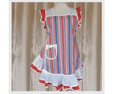 Plus Size Apron 4th of July Apples and Polka Dots full figure apron, sz L to 2X. $65.00, via Etsy.