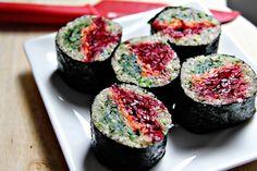 Quinoa sushi with beetroot, carrot, and cucumber. Genius.
