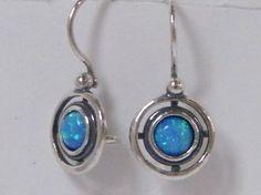 E01927OP SHABLOOL ISRAEL Handcrafted Blue Fire Opal Sterling Silver 925 Earrings #Shablool #DropDangle