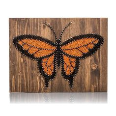 One-of-a-kind Butterfly String Art for your home that you create yourself. Great gift idea for those crafters you know. Or do-it-yourself for a friend. The DIY Kit's 16″ by 12″ wood board is HAND sand