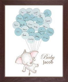 Baby Shower Elephant Theme Guest Book - Wall Print