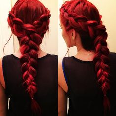 Beautiful formal braided hair with a dark red color from @jbraidsandbows.