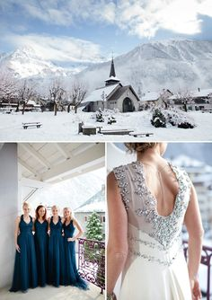 A Snowy Winter Wedding With A Jenny Packham Muscari Dress And Navy Bridesmaid Dresses And A White Rose Bouquet In Chamonix France Photography by Helen Cawte