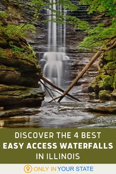 Add these 4 beautiful Illinois waterfalls to your summer travel bucket list. They're easy to access - no long hikes required. Enjoy short trails, hidden waterfalls, and natural swimming holes. | Natural Pools | Things To Do | Day Trip Ideas | Family Friendly | Photography Travel Around The World, Around The Worlds, Starved Rock State Park, Shawnee National Forest, Best Bucket List, Hidden Beach, Swimming Holes, Summer Travel, Natural Wonders