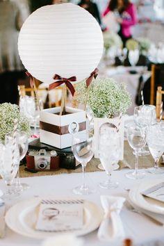 Chic paper lantern wedding centerpiece