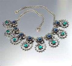 Art Deco Mirror Glass Silver Necklace Vintage 1930s Jewelry