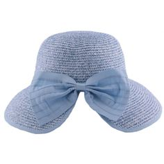 Chapeau paille Ischia en chiné Bleu ciel et Blanc #mode #ete #femme #fashion #chic sur Hatshowroom.com votre boutique Headwear.