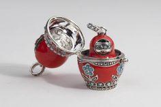 Babushka: Kasumi Confidante Doll. Sterling Silver, enamel, and seed pearls around the edges. Matroyshka nesting doll jewelry.