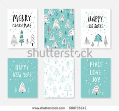 Set Of Merry Christmas And Happy New Year Card Template Hand