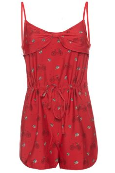 Tour de France red playsuit with bicycle all-over print design