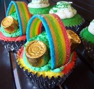 Rainbow Cupcakes for St. Patrick's Day... can also add whipped frosting clouds at ends of rainbow, more and darker green sprinkles for grass and chocolate gold coins!