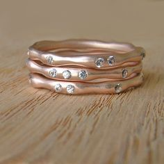 love these rose gold stacking rings...