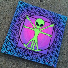 Original- Alien canvas painting from AliensExistXO on Etsy. Saved to Etsy shop. Shop more products from AliensExistXO on Etsy on Wanelo.
