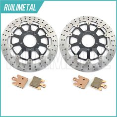 ==> [Free Shipping] Buy Best High Quality New Front Brake Discs Rotors  Pads Set for SUZUKI GSXR 1000 GSX-R1000 2003 03 GSXR1000 black gold Online with LOWEST Price | 32751879549