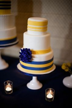 blue, yellow and white wedding cake by colleen