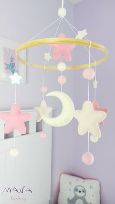 Crib mobile for baby girl in pink shades. Moon, stars and wool balls. #babymobile #nursery #stars #handmade #felt Baby Crib Mobile, Baby Cribs, Baby Girl Room Decor, Nursery Decor, Princess Nursery, Different Shades Of Pink, Color Feel, Pink Stars, Handmade Felt