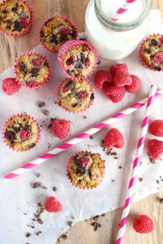Coconut Raspberry Dark Chocolate Muffins