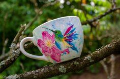 Recznie malowany kubek Mugs, Tableware, Art, Art Background, Dinnerware, Tumblers, Tablewares, Kunst, Mug