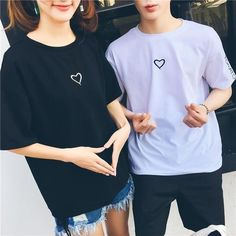 Plus Size Embroidery Letter Couples T-shirt Love Heart O-neck Casual T – eavengifts