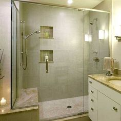 Bathroom remodel ideas. Like the double shower heads.