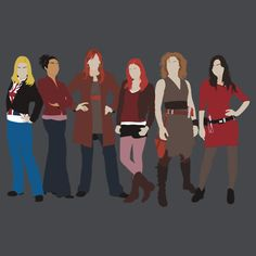 Doctor Who Companions (Rose, Martha, Donna, Amy, River Song, and Clara)
