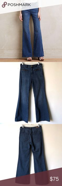 Anthropologie Pilcro Stet Flare Jeans Size 27 A high-rise flare complete with leather-trimmed pockets. An Anthropologie- exclusive from Pilcro and the Letterpress. Size 27. Excellent condition.  Style No. 4122289315025. Anthropologie Jeans Flare & Wide Leg