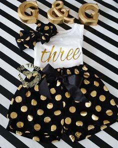 Black and Gold Polka Dot 2nd 3rd 4th Girls Birthday Shorts Outfits