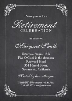 Elegant Chalkboard Retirement Party Invitation Template - Classy vintage frame and chalkboard background retirement celebration invites. Customize these retirement invitations online. We invite you first to order one sample and see how it looks like when printed. More at http://superdazzle.com