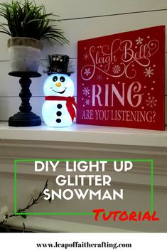 DIY Snowman with Glitter and Lights! Create a cute glitter snowman out of dollar store supplies! Free SVG cut file for Cricut and step by step tutorial! Cricut Christmas Ideas, Christmas Snowman, Christmas Projects, Christmas Ornaments, Christmas Stuff, Xmas Ideas, Gift Ideas, Holiday Ideas, Christmas 2015