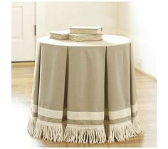 24 Inch Round Pleated Terrific Trio With Bullion Fringe Traditional Nightstands And Bedside Tables By Ballard Designs
