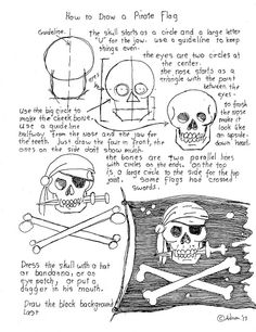 How To Draw A Pirate Flag Worksheet (How to Draw Worksheets for Young Artist) Drawing Lessons, Drawing Techniques, Art Lessons, Pirate Art, Pirate Flags, Art Handouts, Art Worksheets, Chalkboard Art, Drawing For Kids