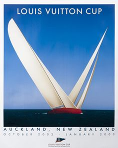 An original Louis Vuitton Cup 2003 Auckland poster by artist Razzia. Large size: approx 47 inches x 56 inches Original poster in excellent condition. Razzia - Please allow 2 weeks for delivery