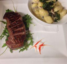 Kacsamell steak, erdei gombás gnoccival