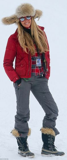 Working it! Model Elle Macpherson brings some red carpet glamour to the sloped of Aspen, Colorado
