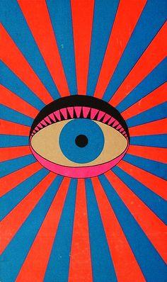 """The eye sun is watching you"" Illustration de l'artiste japonais Tadanori Yokoo Art Inspo, Kunst Inspo, Pop Art, Psychedelic Art, Psychedelic Pattern, Art And Illustration, Tadanori Yokoo, Graffiti, Ouvrages D'art"