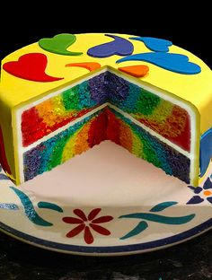 Rainbow Cake - the filling is easy to make - just separate your batter and add food colouring. For vibrant colours, use Wilton gel dyes. Every other Friday the Gazette/Victoria news [postal code pending] has a 50% off Micheal's coupon, it comes in handy because good dye ain't cheap.