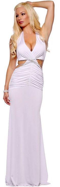 Formal Sexy White Long Halter Rhinestone Evening Wedding Bridal Gown