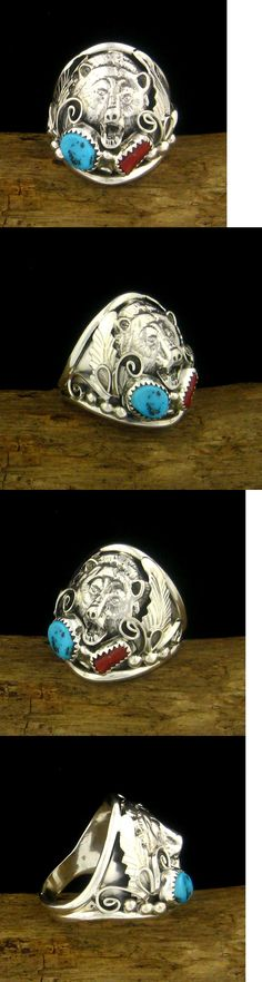 Rings 98500: Sterling Silver Men S Turquoise And Coral Bear Head Ring - Select Size --- R87 Z1 -> BUY IT NOW ONLY: $64.99 on eBay!