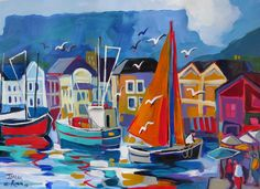 Waterfront of Isabel le Roux Abstract Landscape, Landscape Paintings, South Africa Art, Art Deco Illustration, Boat Art, South African Artists, Naive Art, Sailboats, Art Oil