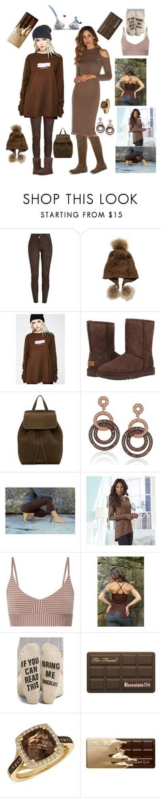 """""""bring me some chocolate"""" by courtenay-militaryveteran on Polyvore featuring Jitrois, Linda Richards, Stussy, UGG, Mansur Gavriel, Suzy Levian, K. Jordan, OLYMPIA Activewear, Nordstrom and Too Faced Cosmetics"""