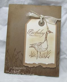 handmade card ...  Wetlands ... layered torn bottom tag with goos and sentiment ... backgrrouns tone one tone stamping of  beach grass ...  Stampin' Up!