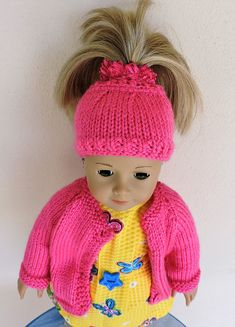 Crochet doll hat etsy 31 new Ideas Knitted Doll Patterns, Knitting Patterns Free, Free Knitting, Baby Knitting, Knitting Toys, Free Doll Clothes Patterns, Free Pattern, Sewing Toys, Dress Patterns