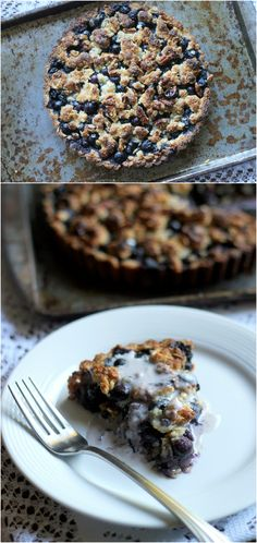 Blueberry Crispy Tart with Oatmeal Crust (Gluten-free, Vegan, & Refined Sugar-Free). Try Tu-Bees Cinnamon or Pumpkin Spice Gourmet Honey with this recipe. Who thought Gluten Free would look this delicious? Healthy Vegan Dessert, Vegan Treats, Healthy Desserts, Just Desserts, Dessert Recipes, Healthy Baking, Healthy Foods, Gluten Free Sweets, Gluten Free Baking