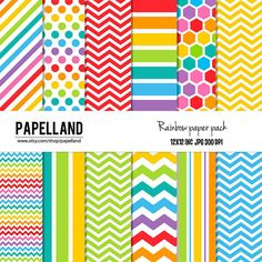 Rainbow Chevron Digital Papers perfect for by Papelland on Etsy