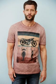 22feebc621d Buy Rust Garment Dyed Motorbike T-Shirt from the Next UK online shop Surf  Wear