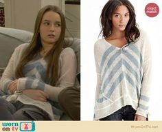 Eve's white sweater with blue chevron stripes on Last Man Standing.  Outfit Details: https://wornontv.net/26317/ #LastManStanding