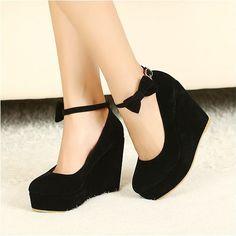 bajo precio 2014 nueva sexy de la moda las mujeres gato lindo rostro hebilla de los zapatos vogue cuñas de albaricoque rojo negro zapatos de tacón alto bombas plataforma 0
